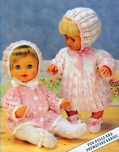 """Knitting Pattern DK Baby Dolls Clothes  12-16-20"""" 2 Matinee Sets"""