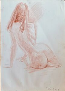 ORIGINAL drawing art woman model sketch pencil from artist signed academic style