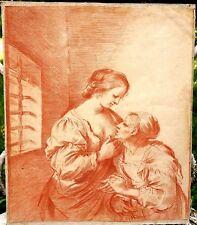 Gravure sanguine XVIIIe Clemente Nicoli d'après le Guerchin Charité Romaine