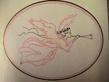 """CREWEL or REDWORK HERALD ANGEL 10"""" x 6"""" design area RARE OoP 1986 pattern"""