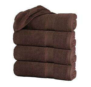 """Set of 4 Large Bath Towel Sheets 100% Cotton 27""""x55"""" 500 GSM Highly Absorbent"""