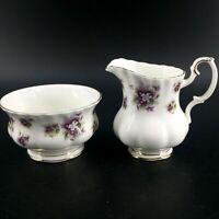 Royal Albert Sweet Violets Creamer Pitcher Sugar Bowl Set Bone China England