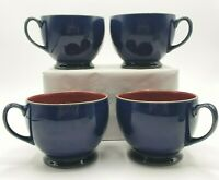 SET 4 Denby England Stoneware Harlequin Breakfast Cup Blue Red Footed Speckled