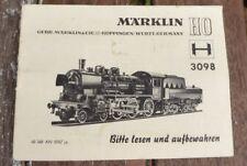 Märklin 3098 original Description 07/1967 locomotive à vapeur BR 38 DB