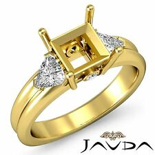3Stone Fine Diamond Trillion Princess Mount Engagement Ring 18k Yellow Gold 0.6C