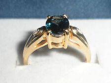 BEAUTIFUL RING 18K TANZANIAN COBALT BLUE SPINEL & DIAMOND GOLD RING ULTRA RARE~