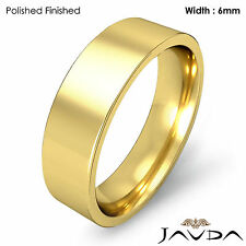 Wedding Band 6mm Women Comfort Fit Pipe Cut Ring 18k Yellow Gold 8.3g Sz 7-7.75