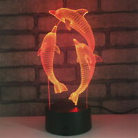 Dolphin Play 3D illusion LED Lamp Touch Switch Table Desk Night Light Kids Gift