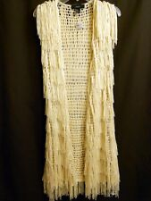 Knitted Long Sweater Cardigan Vest Faux Fur Fringed String S /P Forever 21 - NWT
