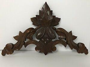 Antique Vintage Hand Carved Oak Wood Medallion Wall Accent Botanical Pine Cones