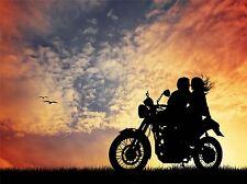 Art print poster foto Mock UP SILHOUETTE TRAMONTO motociclo Romance lfmp0751