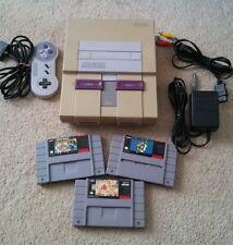 Super Nintendo console + hookups + controller + 3 games Mario Allstars Gato SNES