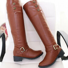Women Knee High Boots PU Leather Flat Tall Knight Boot Plush Snow Shoes Size