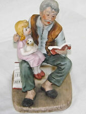 Figurine Old Man Reading To Grand Daughter Porcelain Bisque Ole Vintage Charm