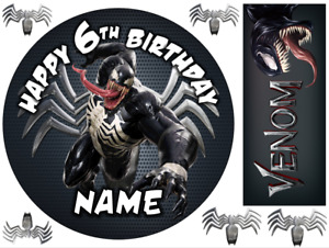 """VENOM INSPIRED 6"""" TO A3 PERSONALISED CAKE EDIBLE ICING TOPPER"""