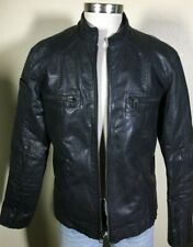 7 Diamonds Black Leather Zip Motorcycle Racing Style Jacket Men's Large - XL