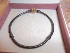 Genuine Pandora Silver & 14ct Gold Oxidised Bracelet 590702OG 19cm 585 ALE RARE