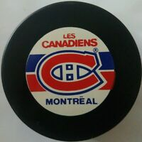 MONTREAL CANADIENS VINTAGE NHL INGLASCO PUCK MADE IN CANADA & CZECHOSLOVAKIA