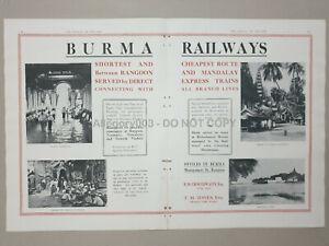 1930 BURMA RAILWAYS Rangoon Ad Advertising 20in x 13.5