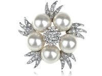New Faux Pearl Clear Stylish Rhinestone Bridal Floral Silver Pin Brooch Jewelry