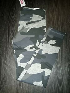 Girls justice full length legging size 8 new grey camo