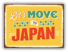 Let's Move To Japan Vintage Travel Label Car Bumper Sticker Decal 5'' x 4''