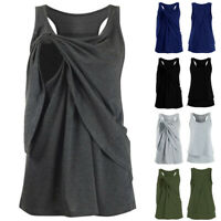 Women Maternity Nursing Vest Wrap Casual Solid Sleeveless Blouse Shirt Tank Tops