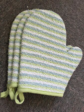 BATH MITT BEAUTY EXFOLIATING CLEANSE RAMIE BAMBOO FIBRE TOWEL QUALITY GREEN
