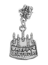 Happy Birthday Cake Party Gift Dangle Bead for Silver European Charm Bracelets