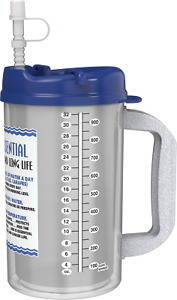 (3) 32 oz Water Essential Insulated Mugs with Straws   Blue Hospital BPA Free
