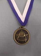 """gold social studies medal 2"""" diameter blue/white neck drape award trophy"""