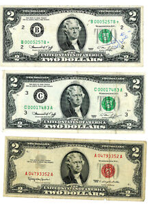 Two Dollar Notes 1963 Red Seal, 1976 green *, and 1976 low number