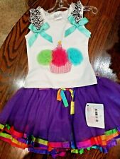 Princess Expressions Girls 1 Year Birthday  2 Outfit Netting Ribbon Cupcakes New