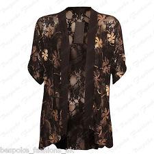 Ladies Women's Floral Lace Short Sleeve Open Cardigan Kimono Top Plus Size 14-28 Gold 22-24