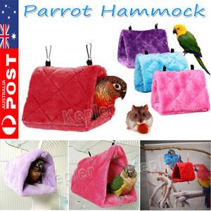 Bird Parrot Hammock Hanging Cave Cage Practical Plush Snuggle Hut Tent Bed Bunk