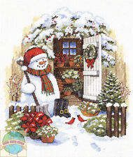 Cross Stitch Kit ~ Dimensions Garden Shed Snowman Cardinal Birds #8817