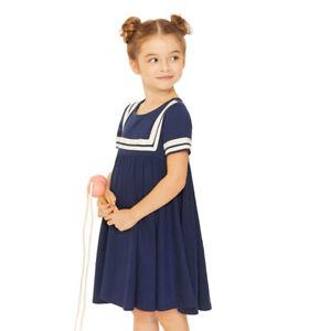 Girls Kids Navy Style Dress School Uniform 100% Cotton Size 2-7 Years
