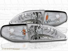 94-98 FORD MUSTANG CRYSTAL CHROME CLEAR HEADLIGHTS + CORNER SIGNAL LAMP SET