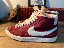 Vintage Retro Nike Blazer 77 High Top Red White Suede UK 8 Trainers Sneakers