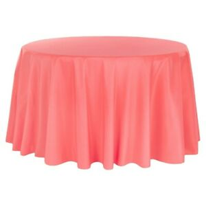 Coral Satin Tablecloth 120 inch round, New, with seams, surged edges