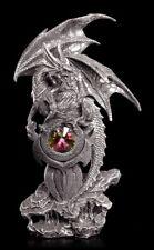 Drachen Figur bewacht Kristall - Deko Drachenfigur