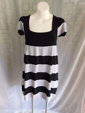Pink Rose Black Gray Striped Scoop Neck Short Sleeve Sweater Dress - Size M