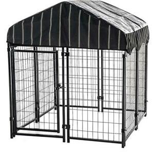 Outdoor Dog Kennel Shelter Fence Indoor Chain Link XXL Dogs Cage Durable Black