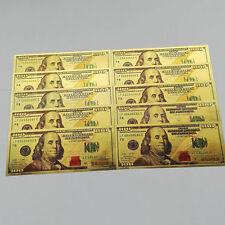 UNC 10pc 1:1 USD 100 dollar Gold Foil Golden Paper Money Banknotes Crafts us NI