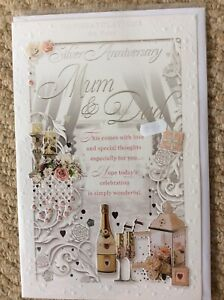 Large Quality Embossed Mum And Dad  Silver Anniversary Card With Lovely Words.