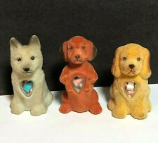 3 Vintage Dog Puppy Candy Container Holder Beagle Cocker Spaniel German Shepherd