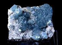 New Find Transparent Blue Cube Fluorite Crystal Cluster Mineral Specimen 1399g