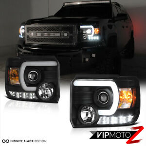 For 14-15 GMC Sierra [FiBer OpTic] LED Neon Tube Black Projector Headlights PAIR