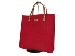 GUCCI Diamante Wool Leather Red Tote Bag GT2515