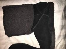 Xhilaration Sox Tab Faux Fur Black Suede Women Boot Winter Comfort Shoe Size 8